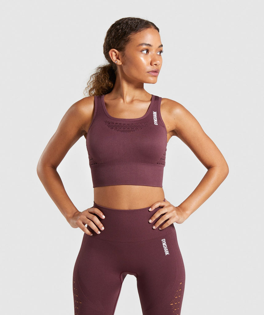 Gymshark Energy+ Seamless Crop Top - Berry Red 1