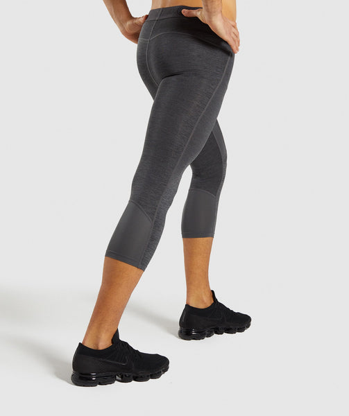 Gymshark Element+ Baselayer 3/4 Leggings - Black Marl 1