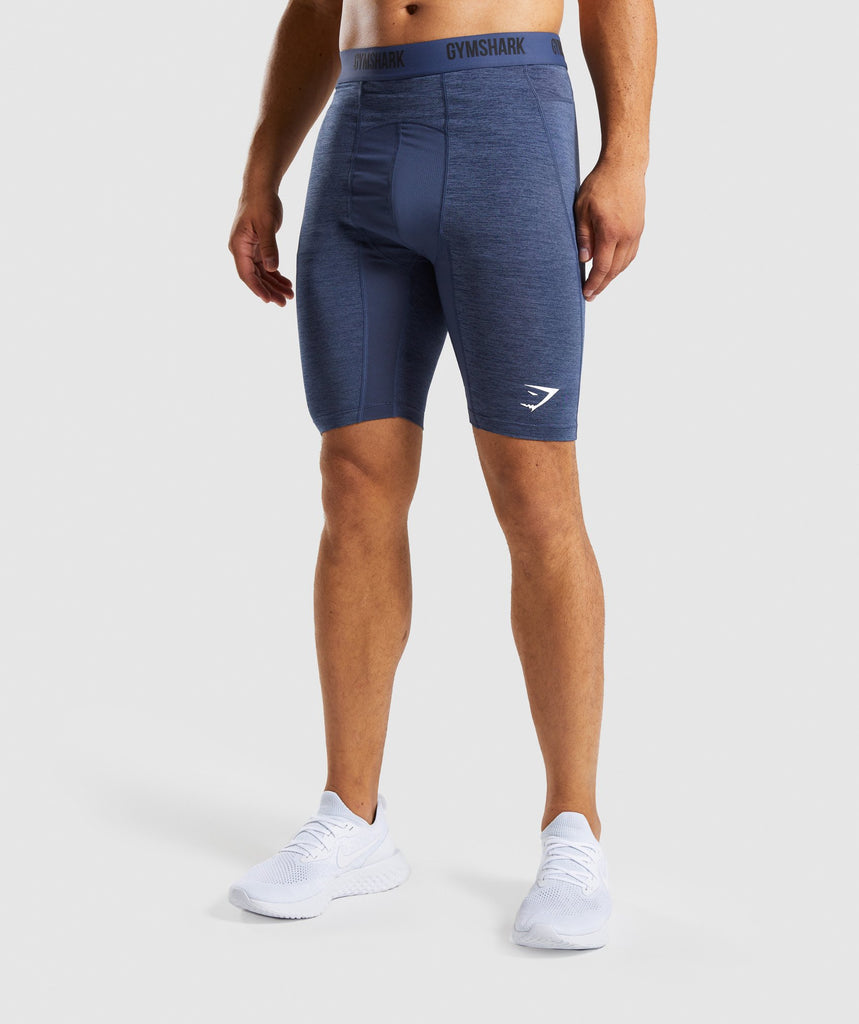 Gymshark Element+ Baselayer Shorts - Sapphire Blue Marl 1