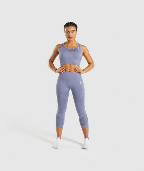 Gymshark Energy+ Seamless Crop Top - Steel Blue 3