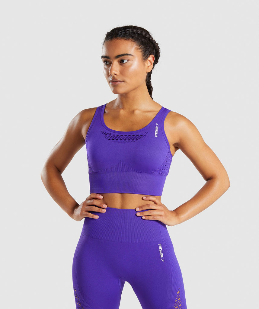 Gymshark Energy+ Seamless Crop Top - Indigo 1