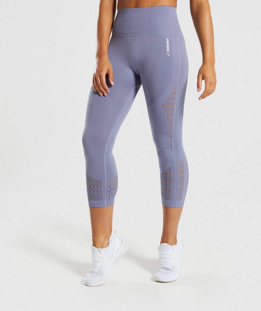 Gymshark Energy+ Seamless Cropped Leggings - Steel Blue 1