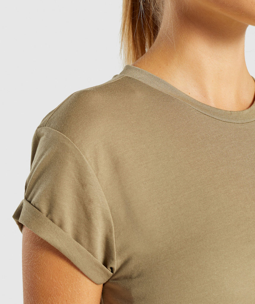 Gymshark Essential Be A Visionary Tee - Washed Khaki/White 5
