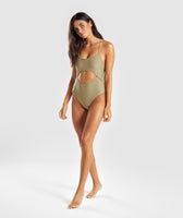 Gymshark Cut Out Swimsuit - Washed Khaki 11