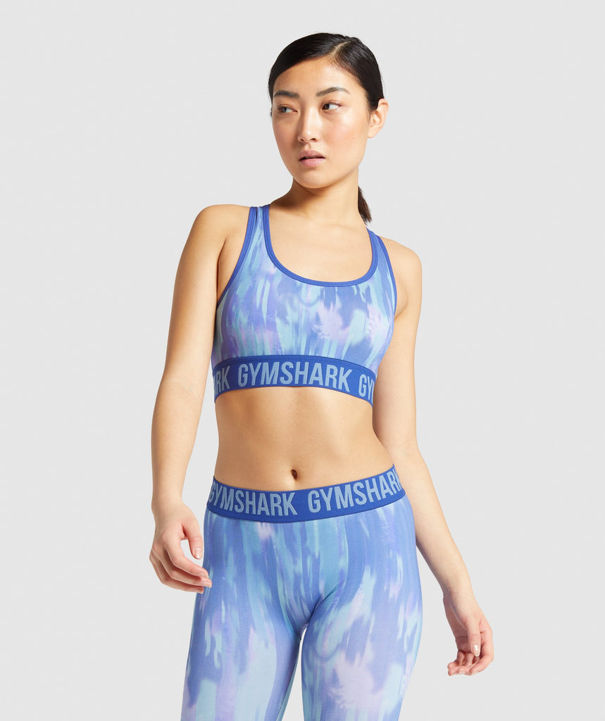 Gymshark Fit Printed Sports Bra - Blue 1