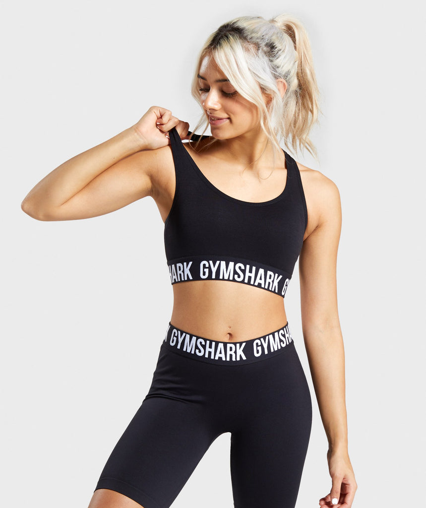 Gymshark Fit Sports Bra - Black/White 1