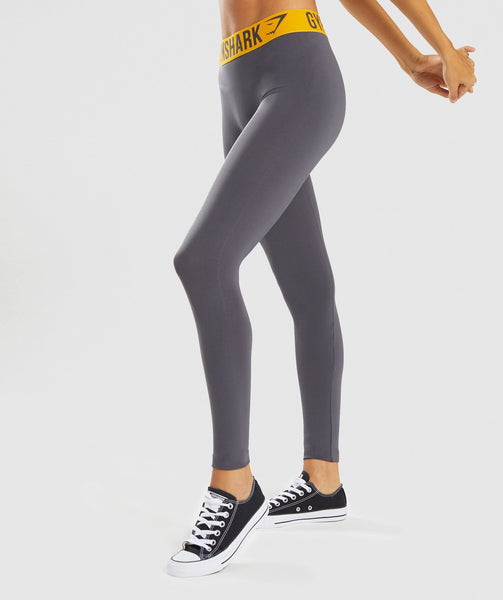 Gymshark Fit Leggings - Charcoal/Citrus Yellow 2