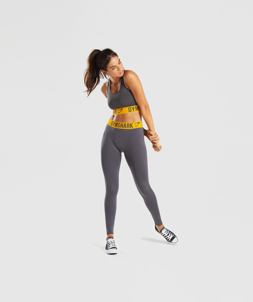 Gymshark Fit Leggings - Charcoal/Citrus Yellow 5