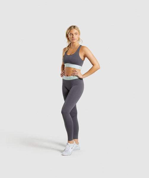 Gymshark Fit Leggings - Grey/Light Green 3