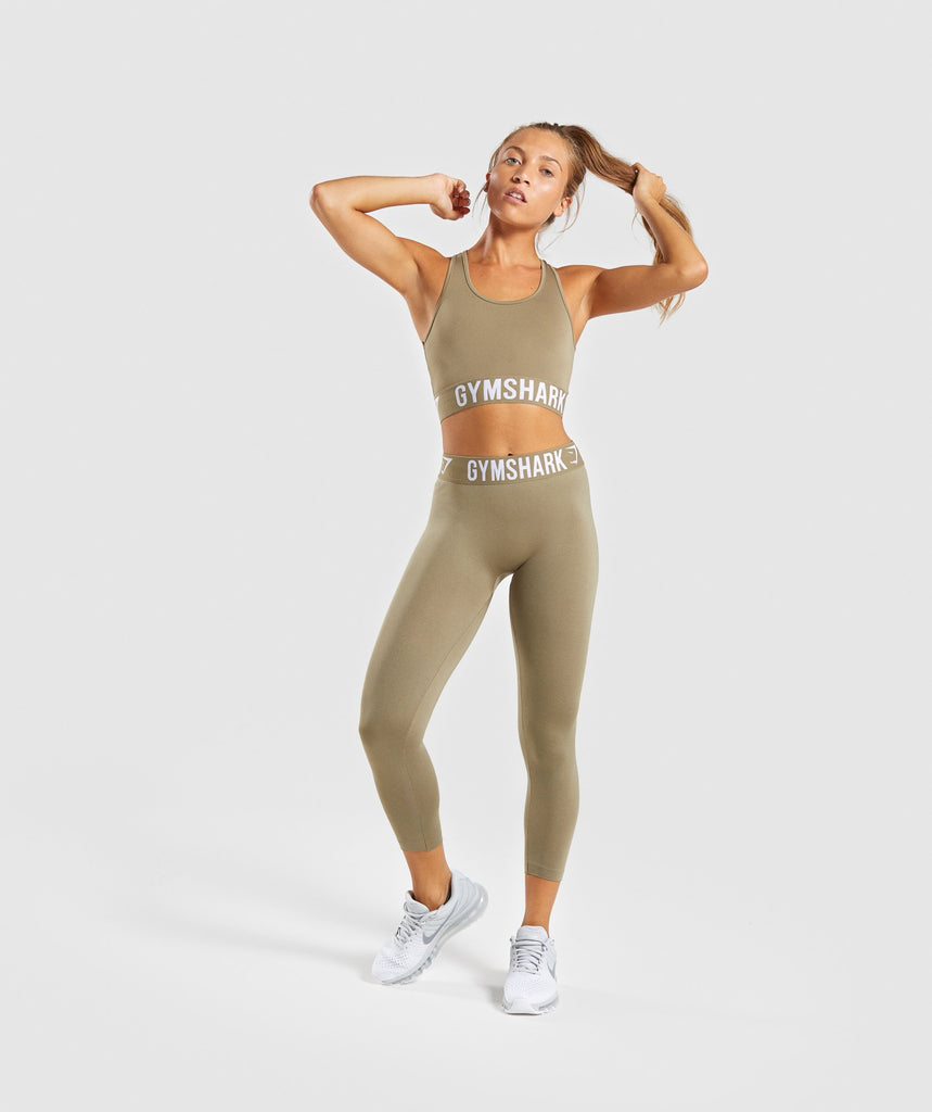 Gymshark Fit Cropped Leggings - Washed Khaki/White 6