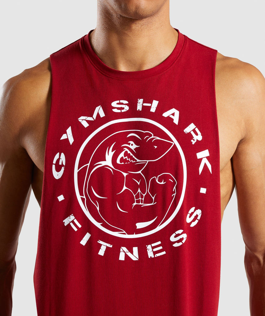 Gymshark Legacy Drop Armhole Tank - Full Red 6