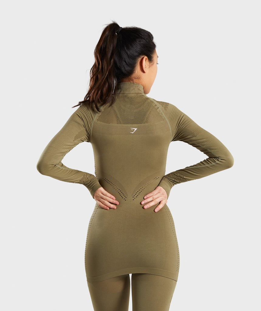 Gymshark Flawless 1/2 Zip Up Jacket - Khaki 2