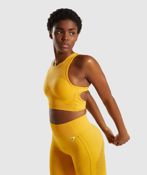 Gymshark Flawless Knit Sports Bra - Yellow 2