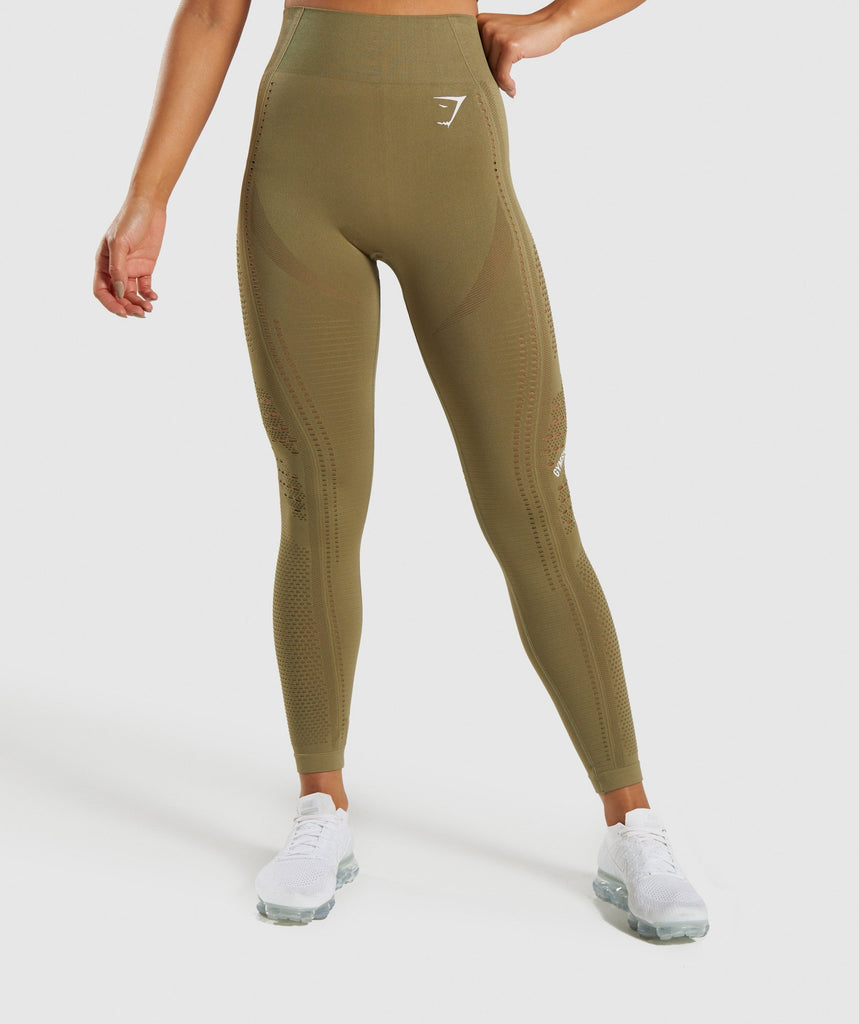 Gymshark Flawless Knit Tights - Khaki 1