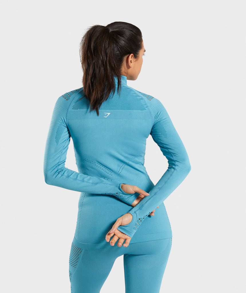 Gymshark Flawless 1/2 Zip Up Jacket - Teal 2
