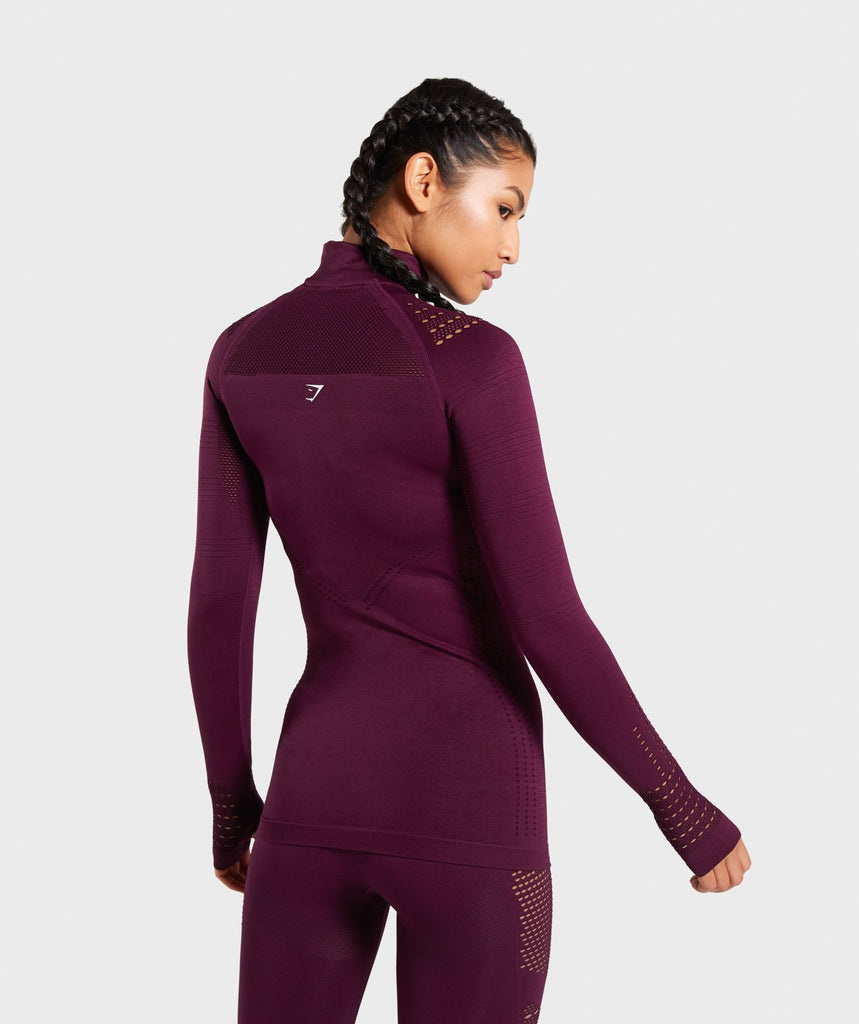 Gymshark Flawless 1/2 Zip Up Jacket - Ruby 2
