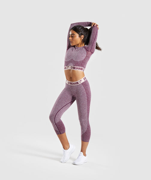 Gymshark Flex Cropped Leggings - Dark Ruby Marl/Blush Nude 4