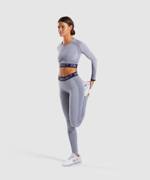 Gymshark Flex Long Sleeve Crop Top - Steel Blue Marl/Evening Navy Blue 4
