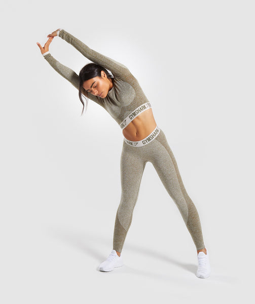 Gymshark Flex Long Sleeve Crop Top - Khaki/Sand 3