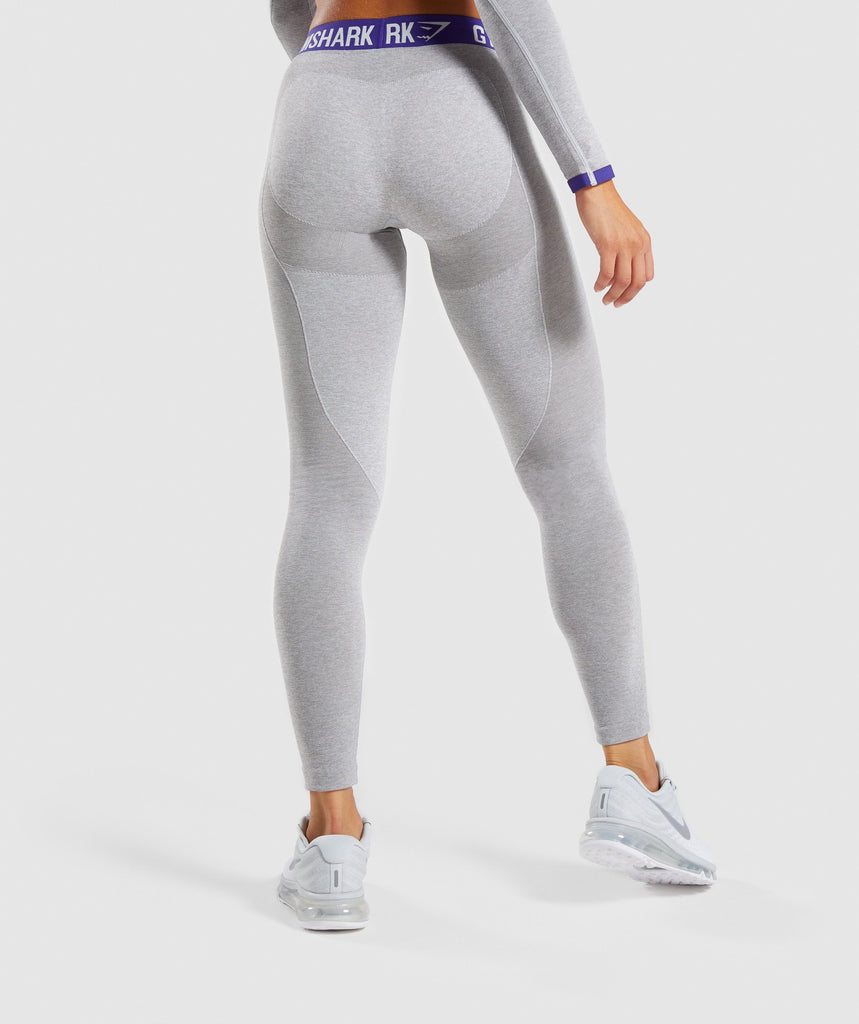 Gymshark Flex Leggings - Light Grey Marl/Indigo 2