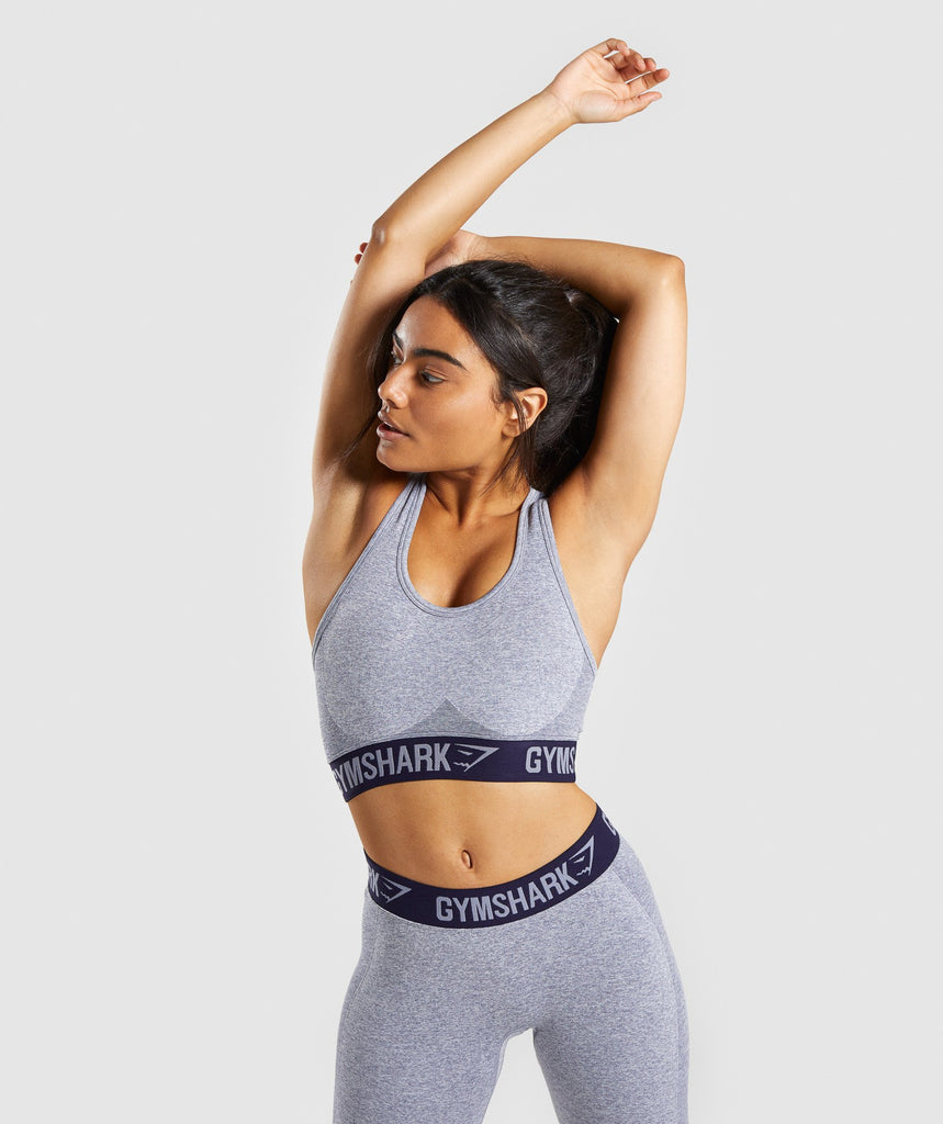Gymshark Flex Sports Bra - Steel Blue Marl/Evening Navy Blue 1