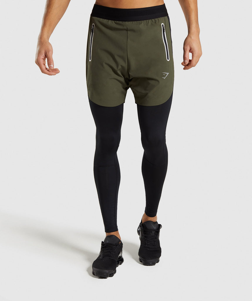 Gymshark Fuse 2 In 1 Shorts - Woodland Green/Black 1