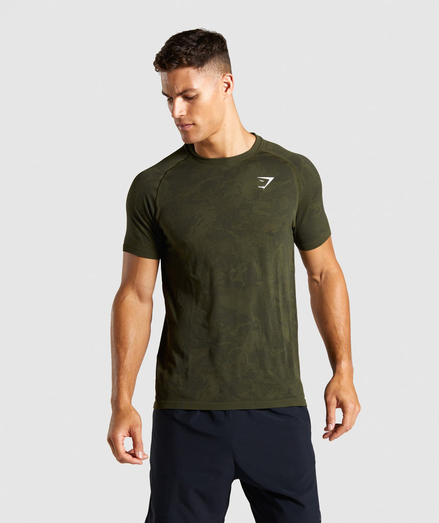 Gymshark Geo Lightweight Seamless T-Shirt - Dark Green 1