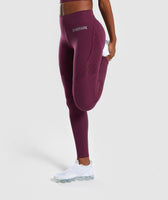 Gymshark Geo Mesh Leggings - Dark Ruby 7