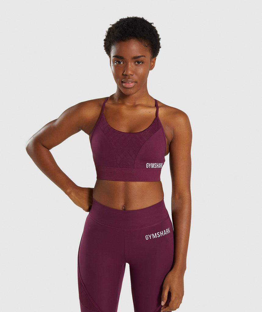 Gymshark Geo Mesh Sports Bra - Dark Ruby 1