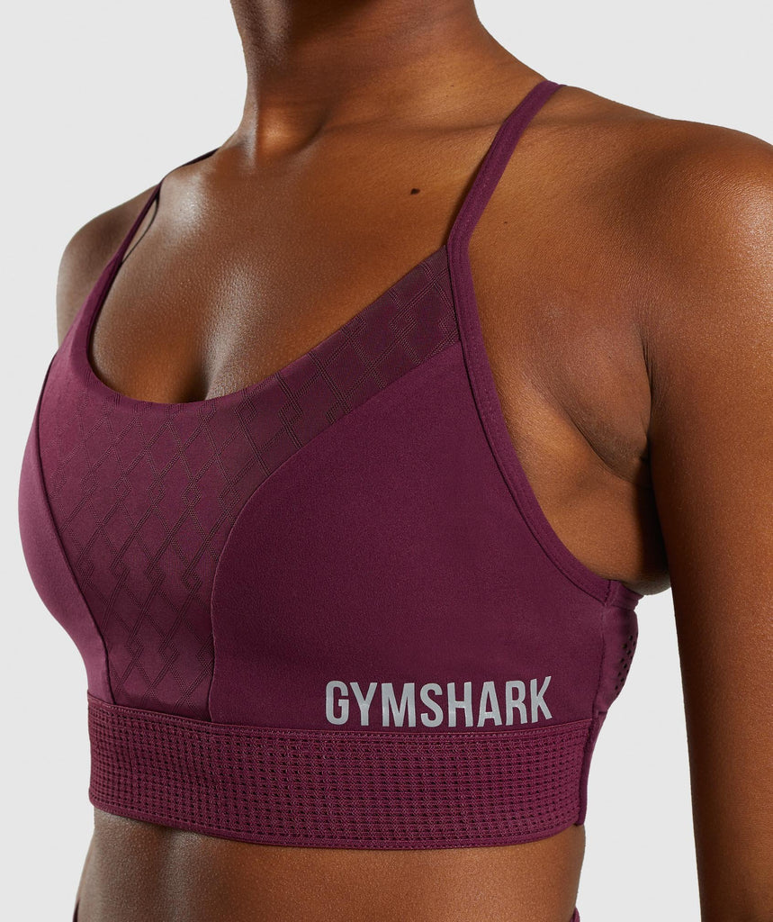 Gymshark Geo Mesh Sports Bra - Dark Ruby 5