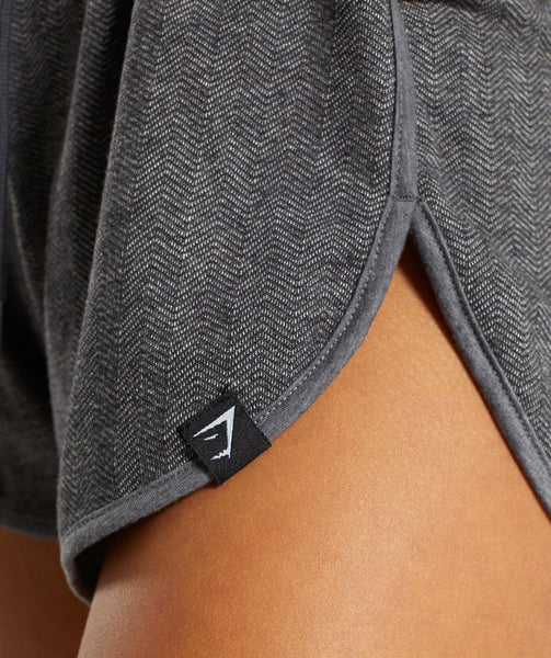 Gymshark Heather Dual Band Shorts - Black Marl 4