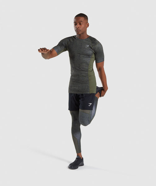 Gymshark Hybrid Baselayer Top - Woodland Green Marl 2