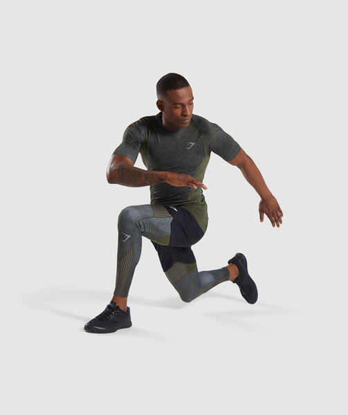 Gymshark Hybrid Baselayer Top - Woodland Green Marl 3