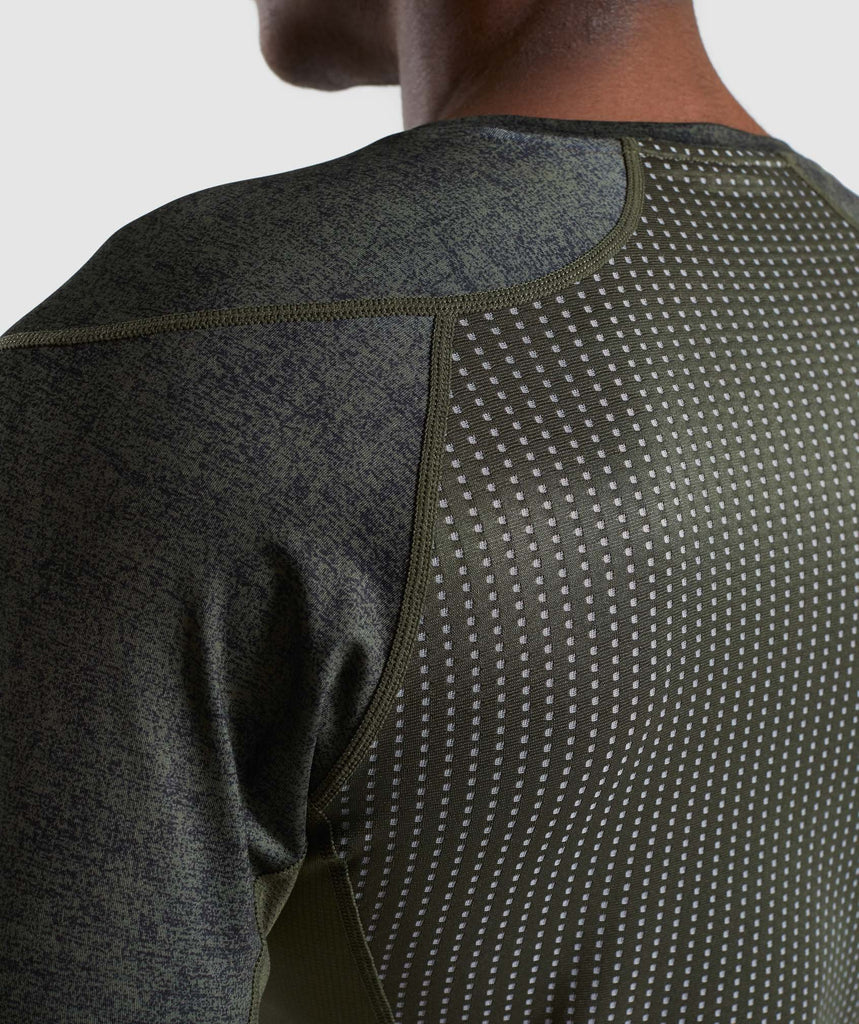Gymshark Hybrid Baselayer Top - Woodland Green Marl 5