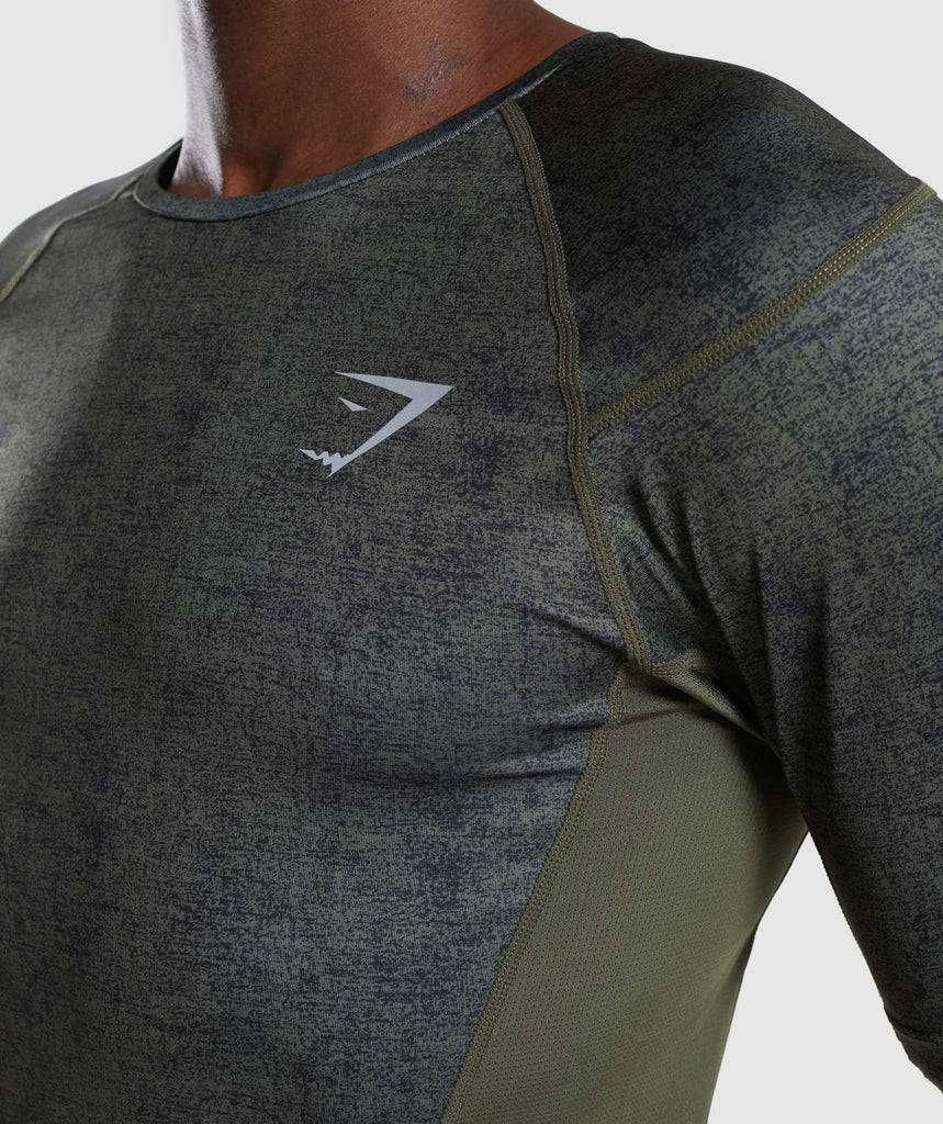 Gymshark Hybrid Baselayer Top - Woodland Green Marl 6