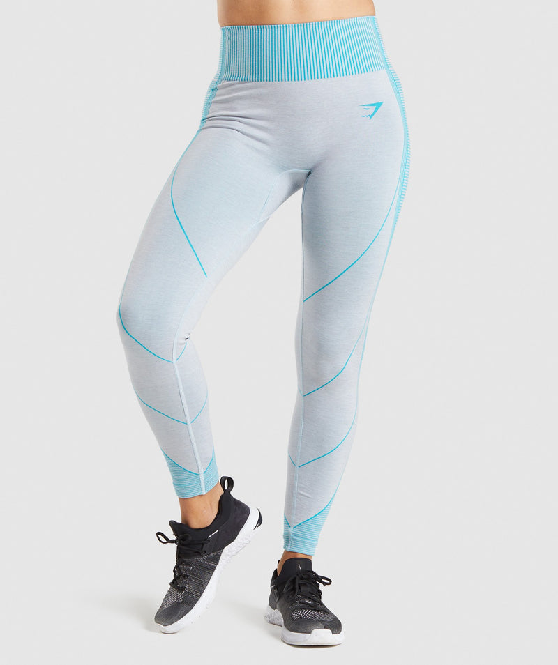 Gymshark Hyper Amplify Leggings - Light Grey Marl/Light Teal