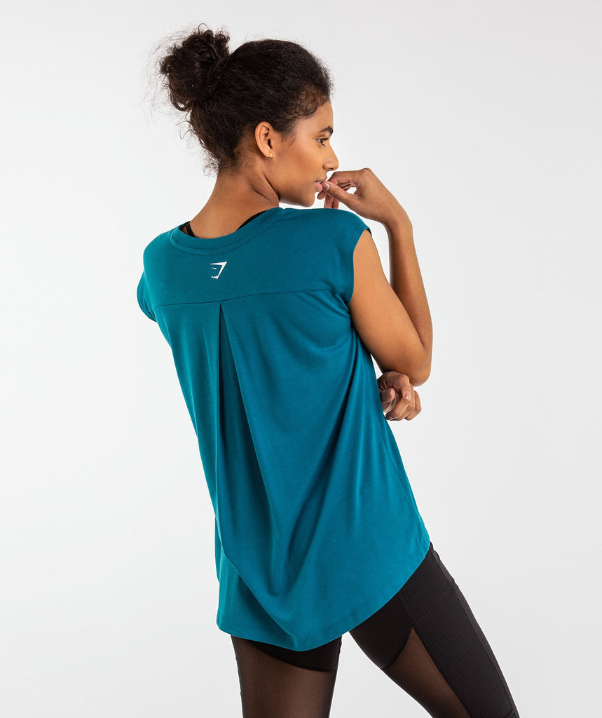 Gymshark Pleat Back Tee - Deep Teal 2