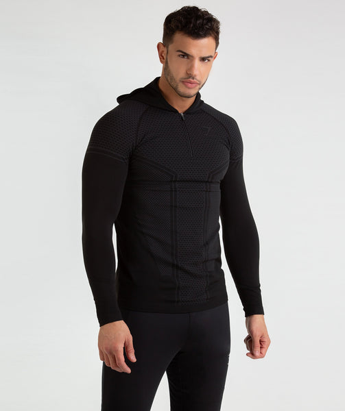 Gymshark Onyx Imperial Long Sleeve Hooded Top - Black 4