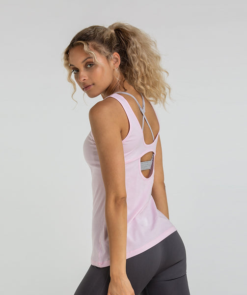Gymshark Scoop Back Pulse Vest - Chalk Pink 2