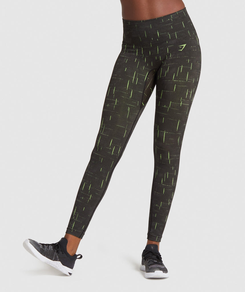 Gymshark Illumination Seamless Leggings - Black/Lime 1