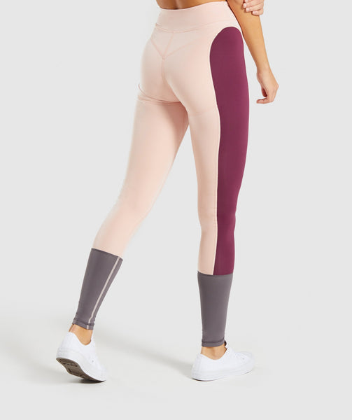 Gymshark Illusion Leggings - Dark Ruby/Blush Nude/Slate Lavender 1