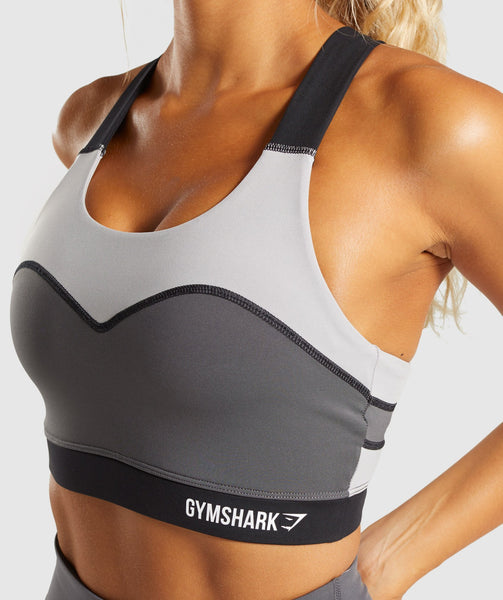 Gymshark Illusion Sports Bra - Black/Charcoal/Light Grey 4