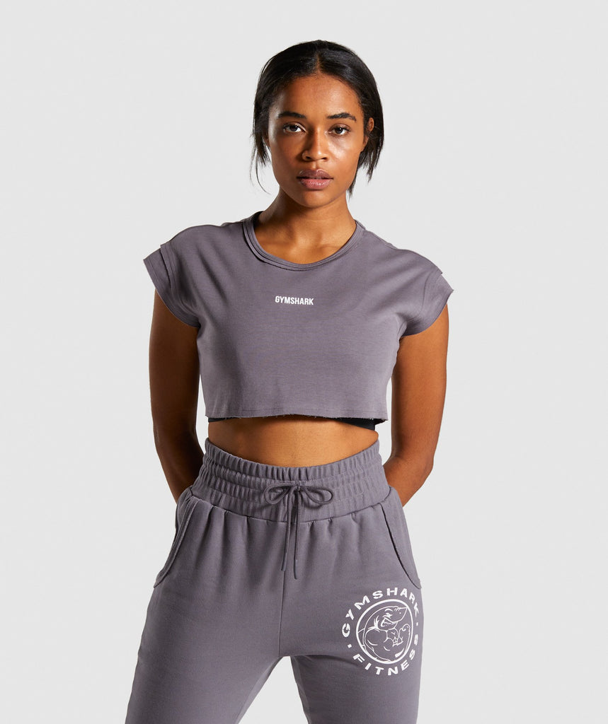 Gymshark Legacy Fitness Raw Crop Top - Slate Lavender 1