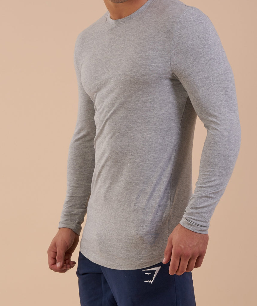 Gymshark Solace Longline Long Sleeve T-shirt - Light Grey Marl 5