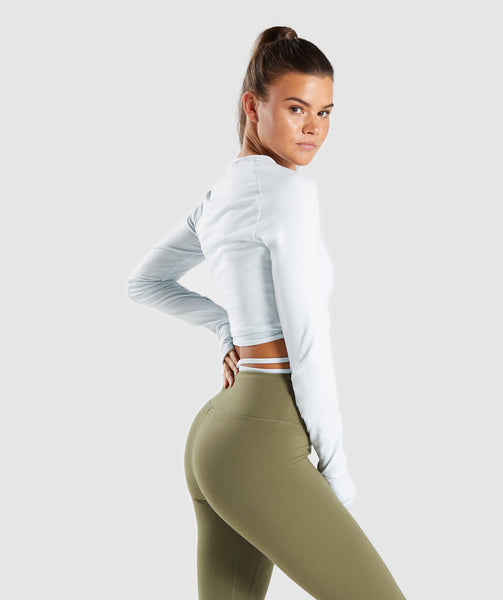 Gymshark Long Sleeve Ribbon Crop Top - Ice Blue 1
