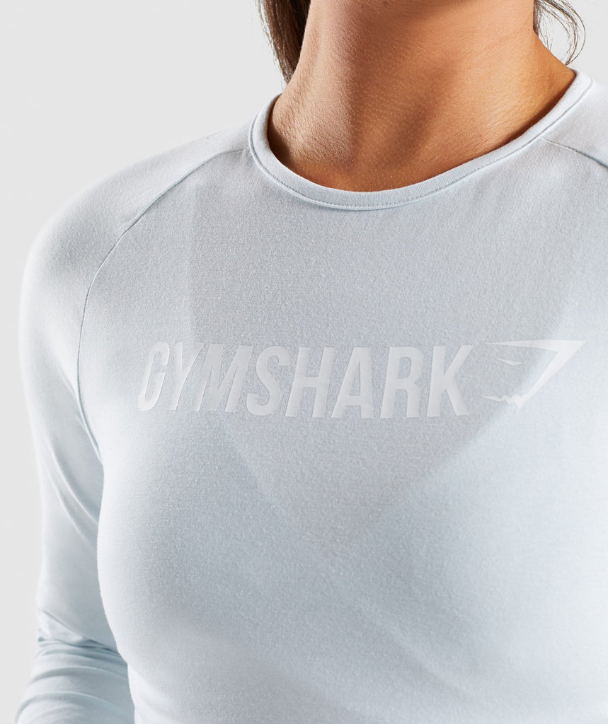 Gymshark Long Sleeve Ribbon Crop Top - Ice Blue 5