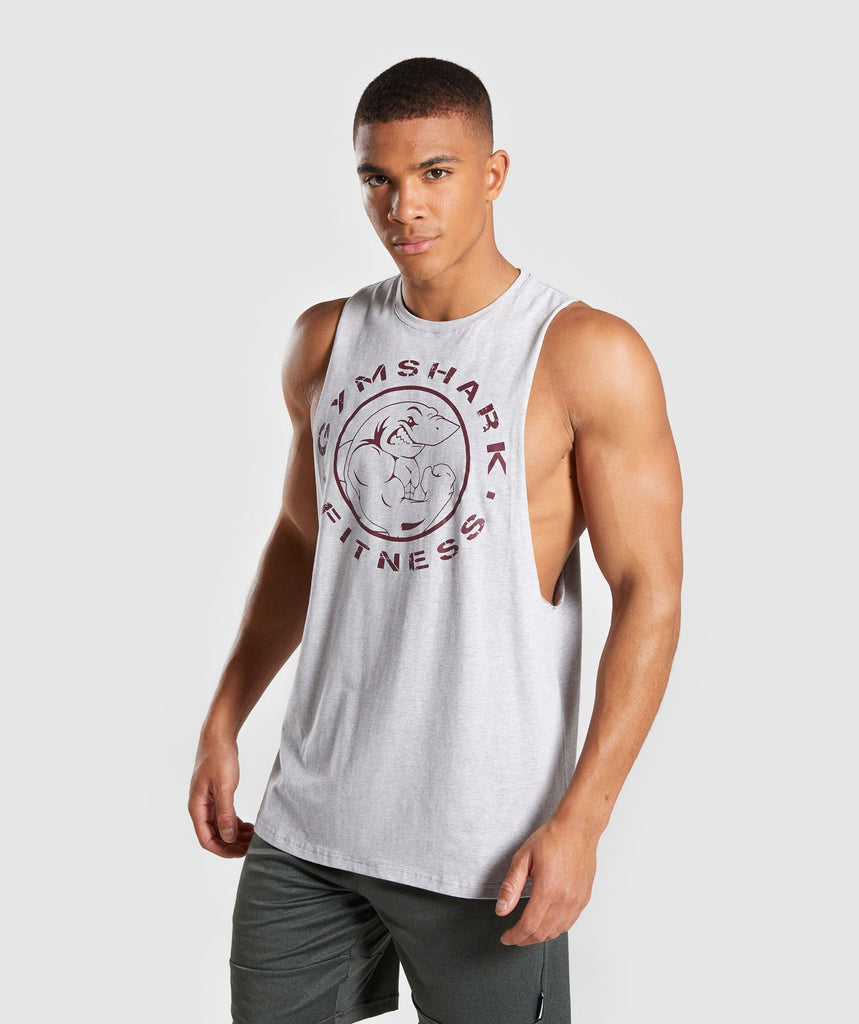 Gymshark Legacy Drop Armhole Tank - Grey/Red 1