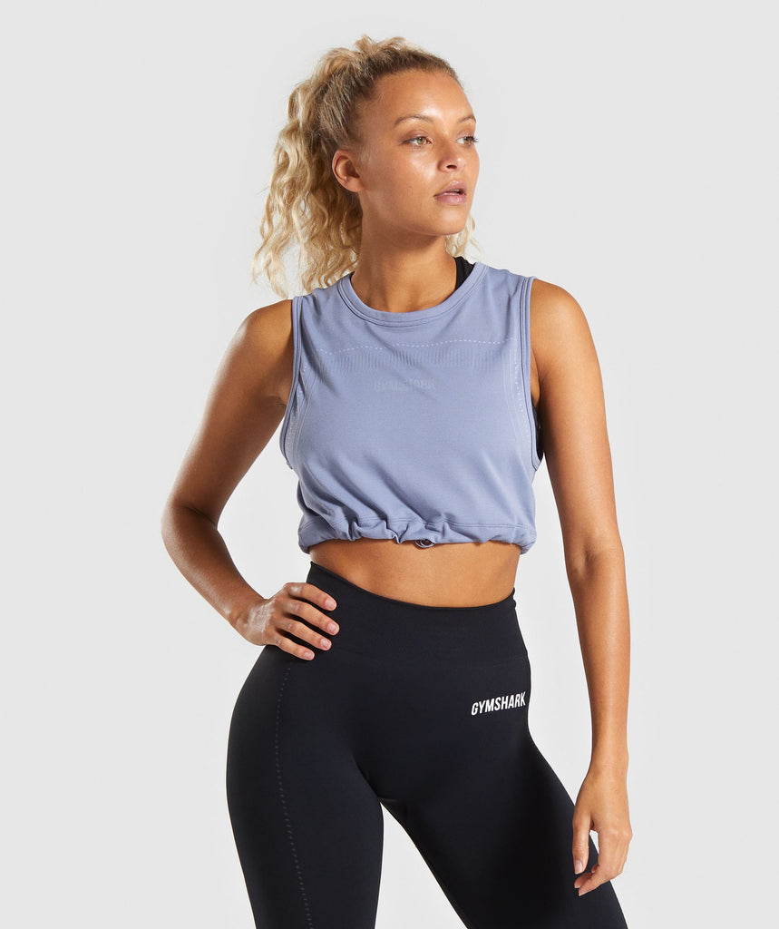 Gymshark Lightweight Seamless Crop Top - Blue 1