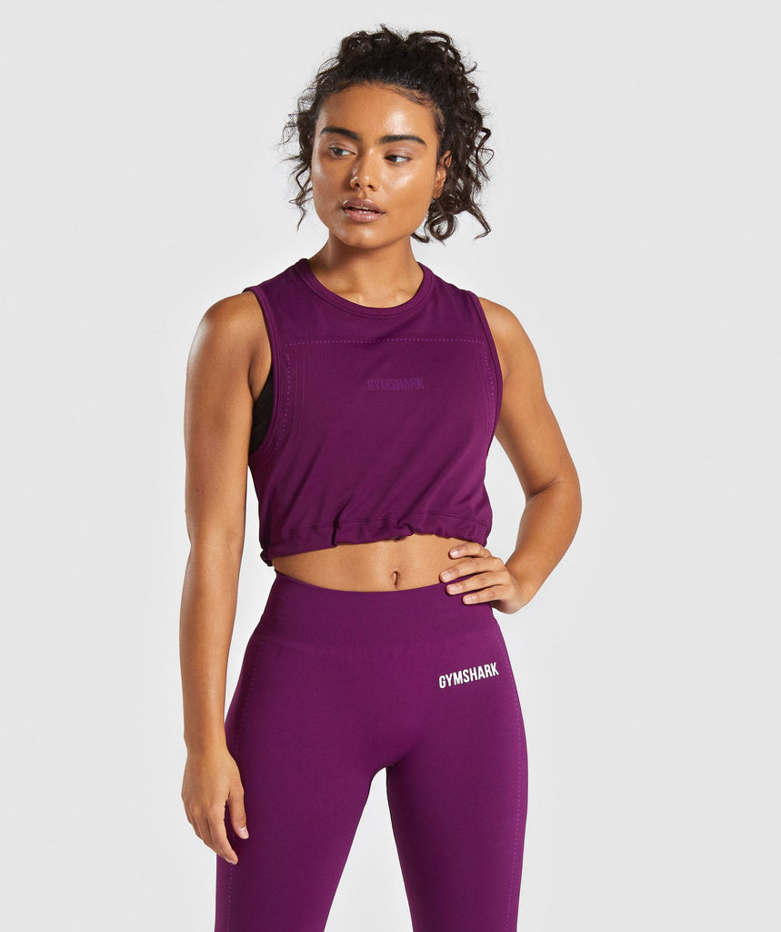 Gymshark Lightweight Seamless Crop Top - Purple 1