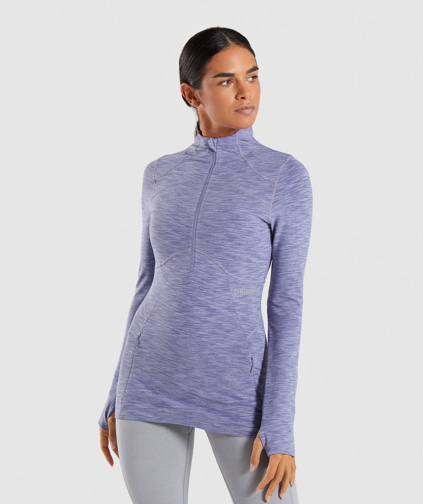 Gymshark Limit 1/2 Zip Pullover - Steel Blue Marl 1